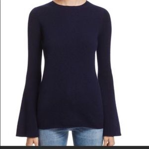 Aqua cashmere navy bell sleeve sweater NWT